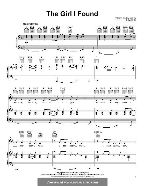 The Girl I Found: Para vocais e piano (ou Guitarra) by Julie Gold