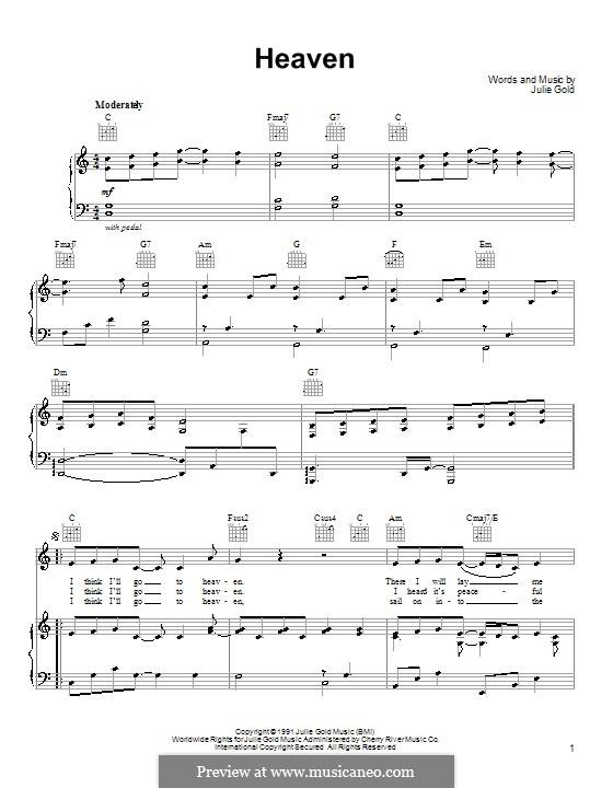 Heaven: Para vocais e piano (ou Guitarra) by Julie Gold