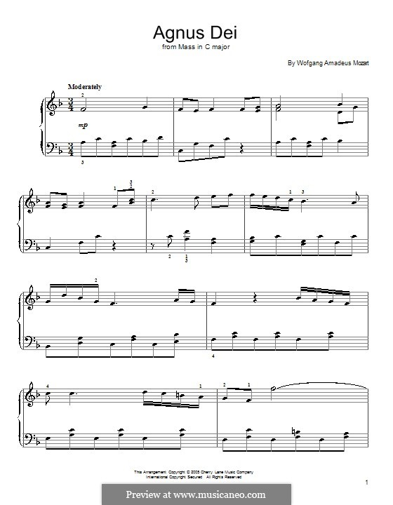Coronation Mass No.15 in C Major, K.317: Agnus Dei (Fragment), for piano by Wolfgang Amadeus Mozart