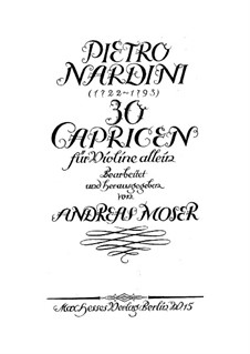 Thirty Caprices for Violin: Thirty Caprices for Violin by Pietro Nardini
