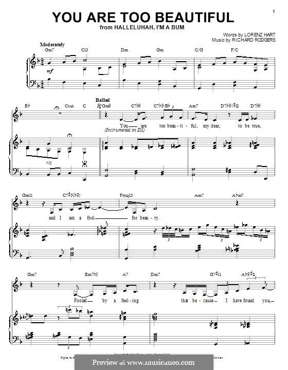 You are too Beautiful: Para vocais e piano (ou Guitarra) by Richard Rodgers