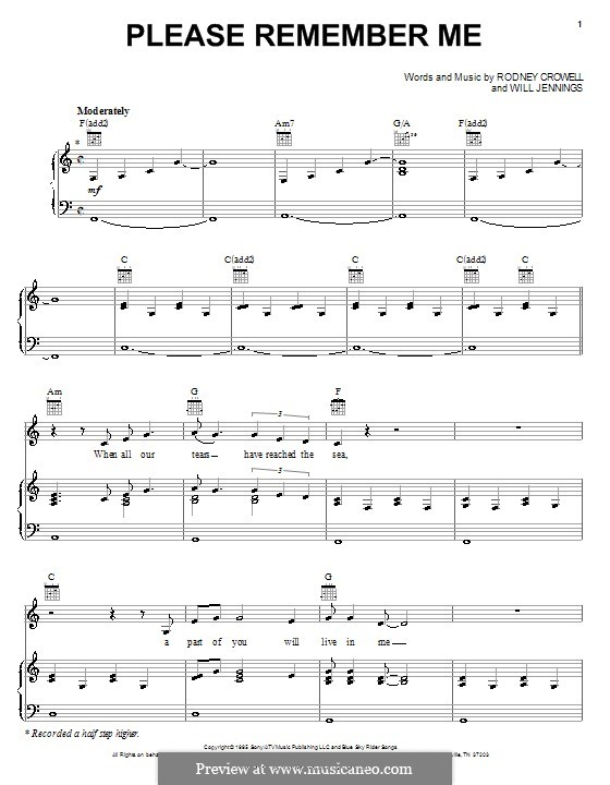 Please Remember Me (Tim McGraw): Para vocais e piano (ou Guitarra) by Rodney Crowell, Will Jennings