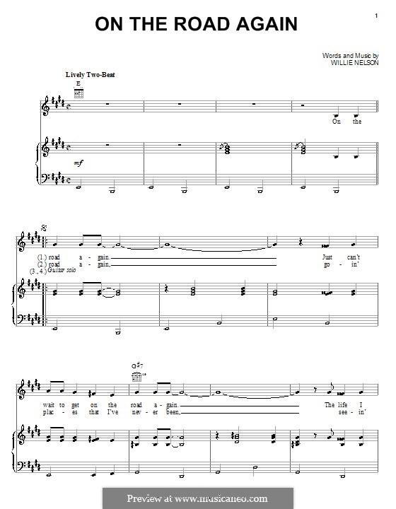 On the Road Again: Para vocais e piano (ou Guitarra) by Willie Nelson