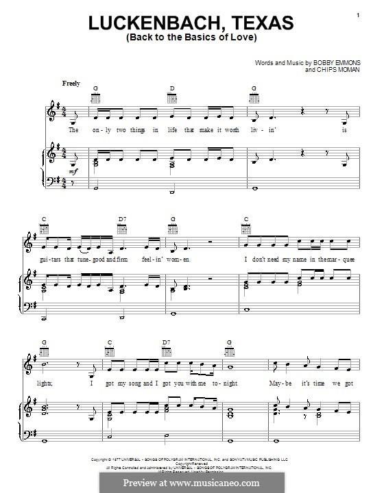 Luckenbach, Texas (Back to the Basics of Love): para vocais,piano ou guitarra by Bobby Emmons, Chips Moman