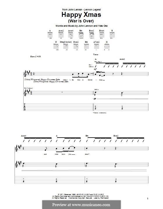 Happy Xmas (War Is Over): Para Guitarra by John Lennon, Yoko Ono