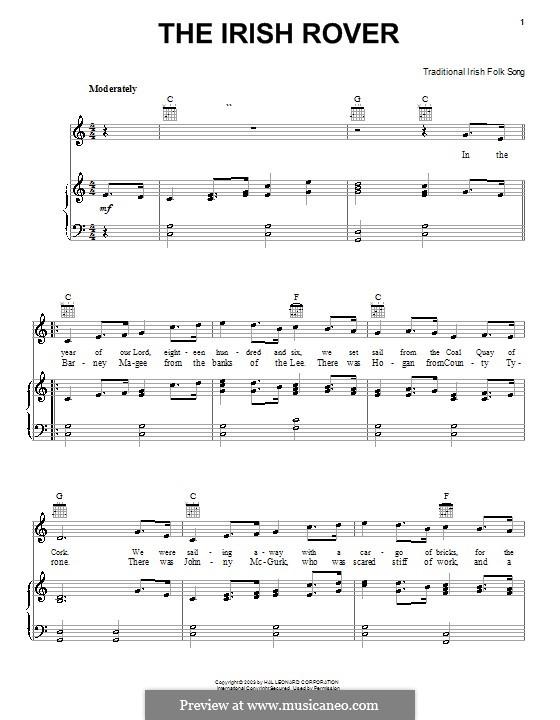 The Irish Rover: Para vocais e piano (ou Guitarra) by folklore