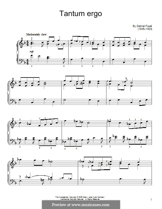 Tantum ergo, Op.65 No.2: Para Piano by Gabriel Fauré