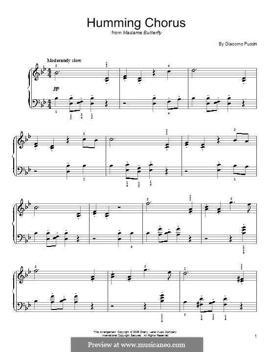 Madama Butterfly : Humming Chorus, for piano by Giacomo Puccini