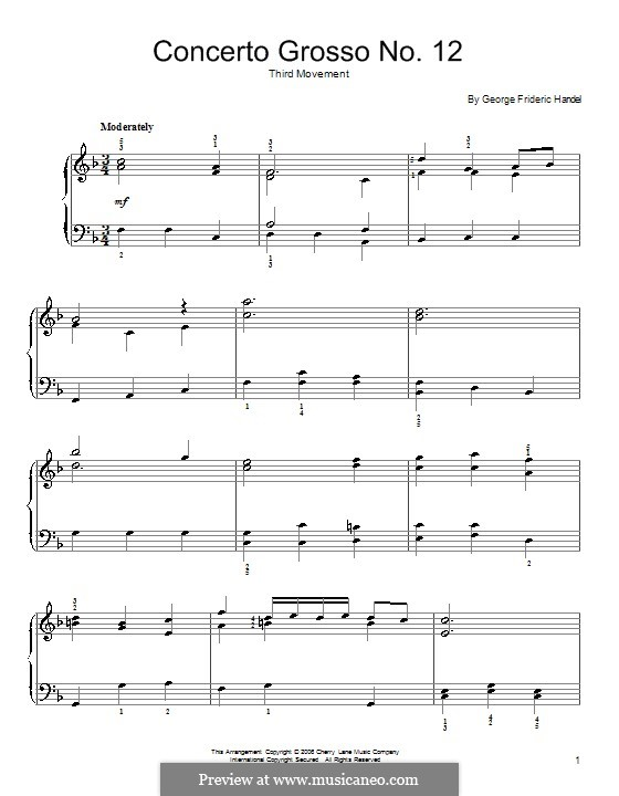 Concerto Grosso No.12 in B Minor, HWV 330: Larghetto. Version for piano by Georg Friedrich Händel
