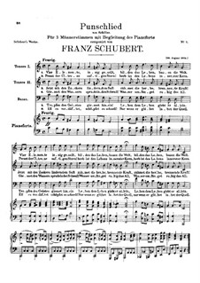 Punschlied (On Drinking Punch), D.277: Punschlied (On Drinking Punch) by Franz Schubert