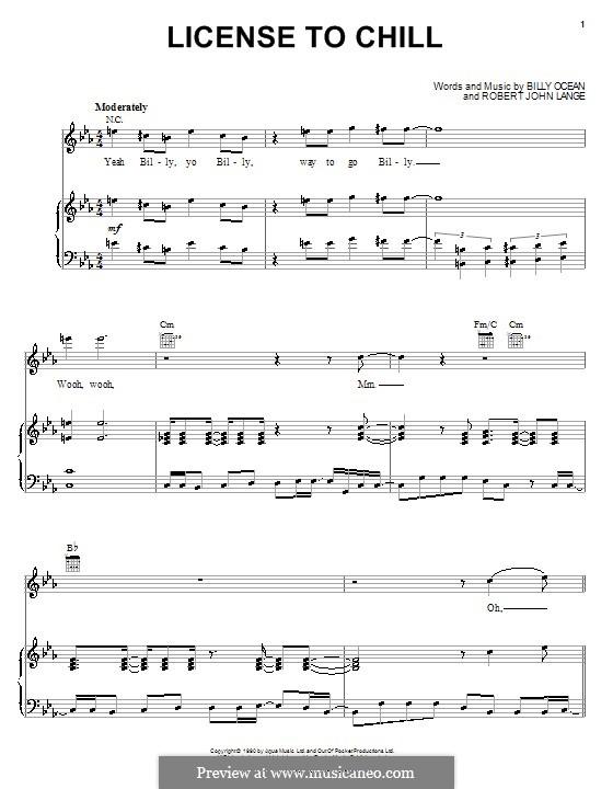 License to Chill (Billy Ocean): Para vocais e piano (ou Guitarra) by Robert John Lange
