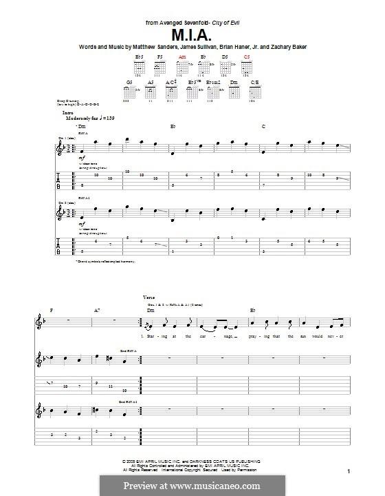 M.I.A. (Avenged Sevenfold): Para guitarra com guia by Brian Haner Jr., James Sullivan, Matthew Sanders, Zachary Baker