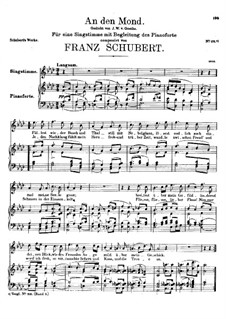 An den Mond (To the Moon), D.296: Partitura piano-vocal by Franz Schubert