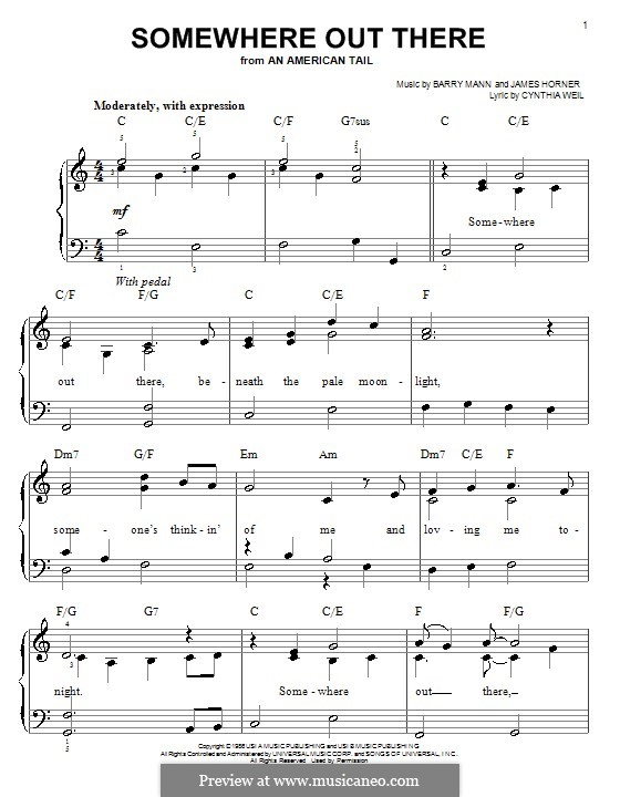 Somewhere Out There (from An American Tail): Facil para o piano by Barry Mann, Cynthia Weil, James Horner
