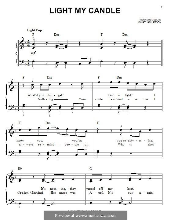Light My Candle: Facil para o piano by Jonathan Larson