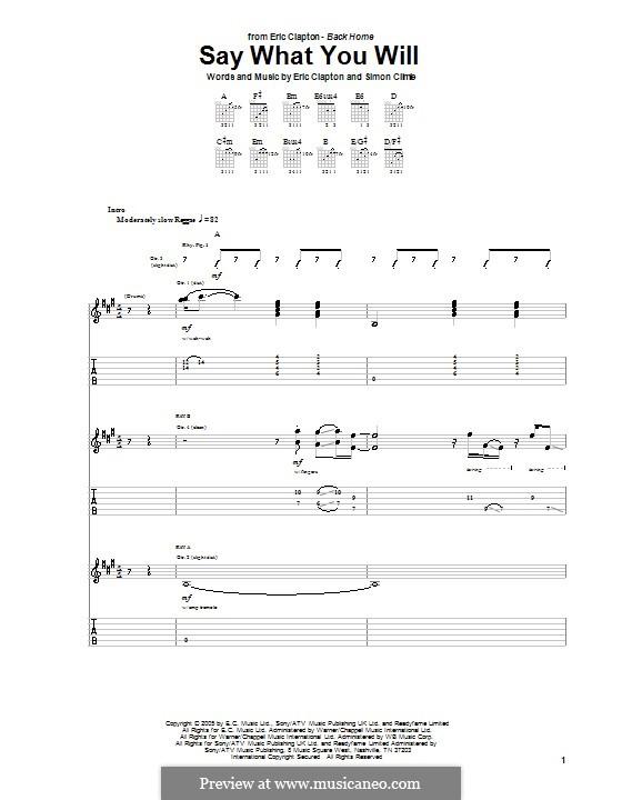 Say What You Will: Para guitarra com guia by Simon Climie