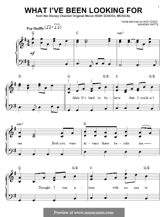 What I've Been Looking for (High School Musical): Facil para o piano by Adam Watts, Andrew Dodd