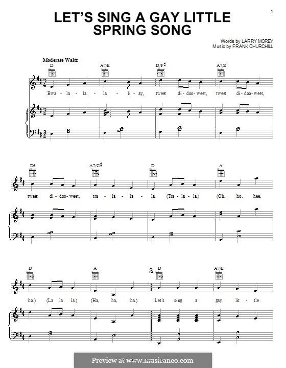 Let's Sing a Gay Little Spring Song (from Bambi II): Para vocais e piano (ou Guitarra) by Frank Churchill