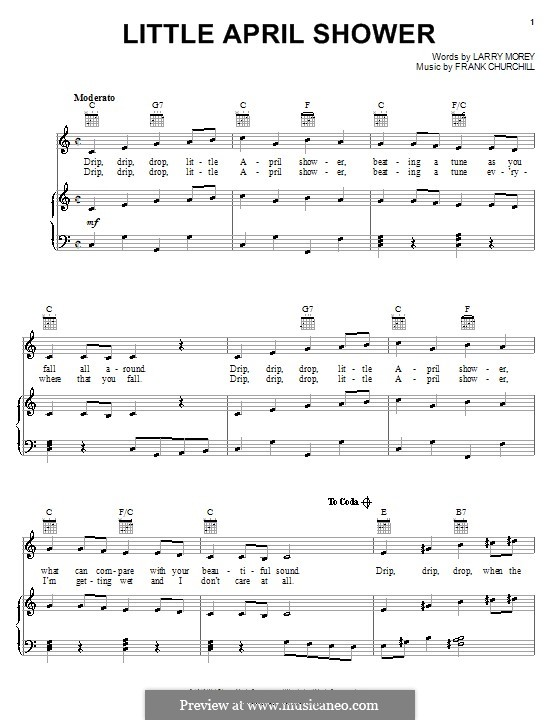 Little April Shower (from Bambi): Para vocais e piano (ou Guitarra) by Frank Churchill