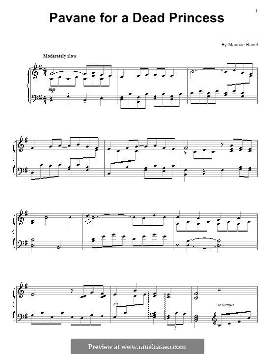 Pavane pour une infante défunte (Pavane for a Dead Princess), M.19: For piano (fragment) by Maurice Ravel