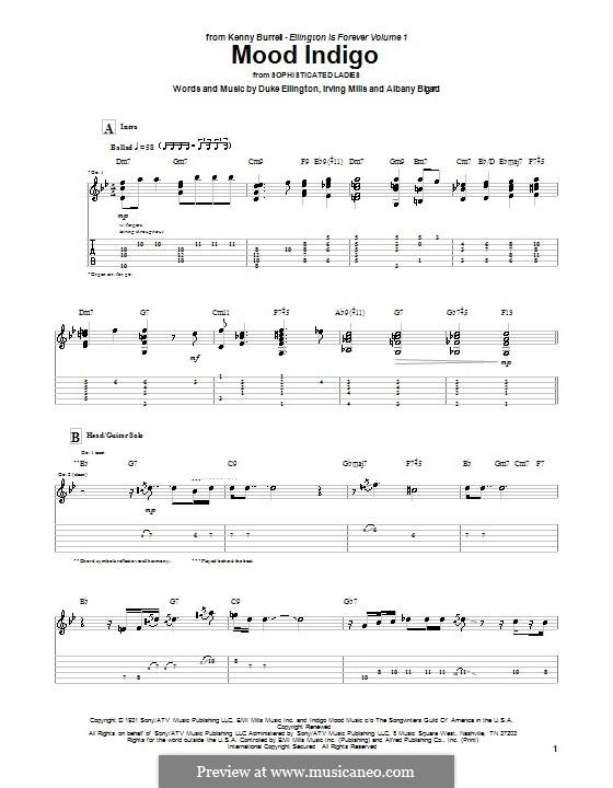 Mood Indigo: For guitar with tab (Kenny Burrell) by Irving Mills, Albany Bigard, Duke Ellington