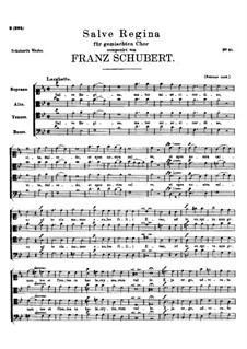 Salve Regina, D.386: Partitura Piano-vocal by Franz Schubert