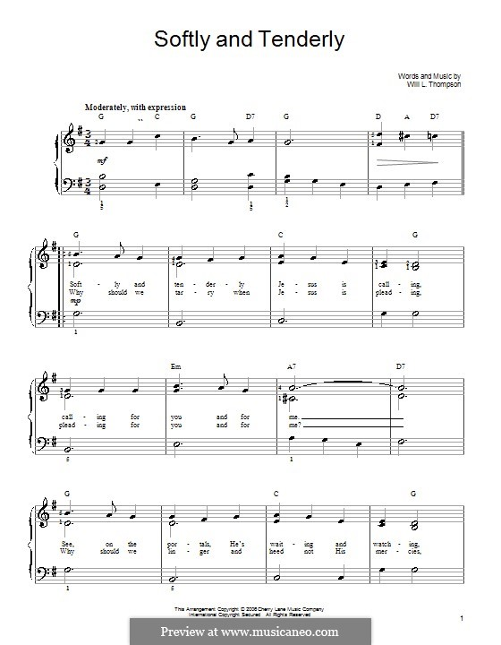 Softly and Tenderly: Facil para o piano by Will Lamartine Thompson