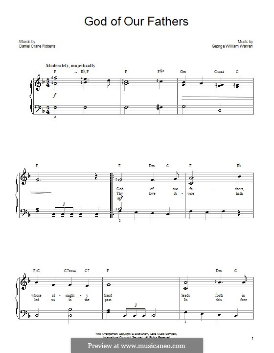 God of Our Fathers: Facil para o piano by George William Warren