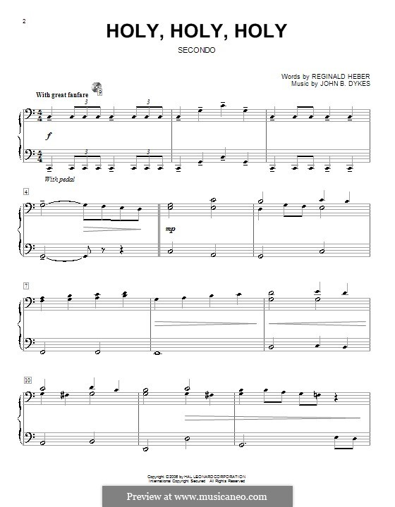 Holy, Holy, Holy! Lord God Almighty: para piano de quadro mãos by John Bacchus Dykes