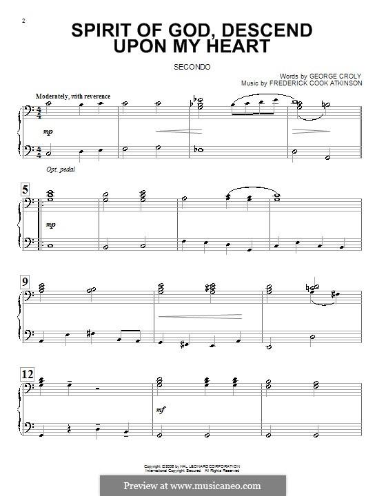 Spirit of God, Descend upon My Heart: para piano de quadro mãos by Frederick Cook Atkinson