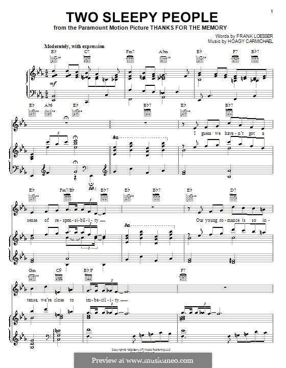 Two Sleepy People: Para vocais e piano (ou Guitarra) by Frank Loesser