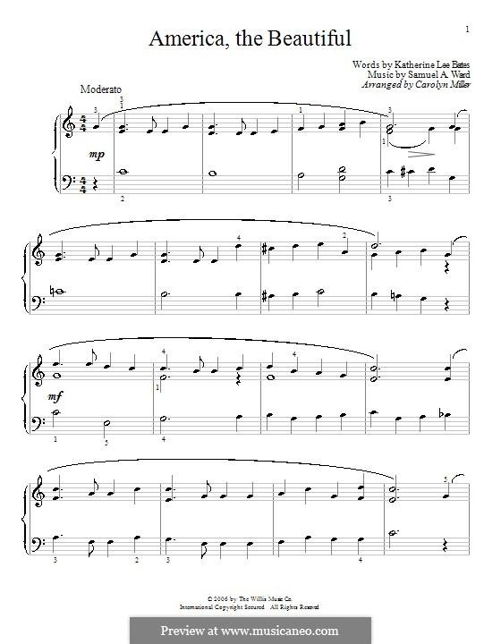America the Beautiful: Para Piano by Samuel Augustus Ward
