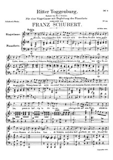 Ritter Toggenburg (The Knight of Toggenburg), D.397: Para vocais e piano by Franz Schubert
