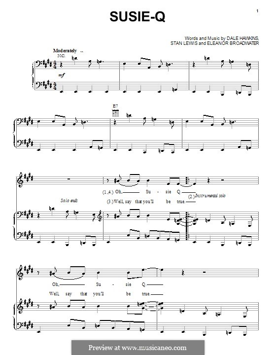 Susie-Q (Creedence Clearwater Revival): Para vocais e piano (ou Guitarra) by Dale Hawkins, Eleanor Broadwater, Stan Lewis