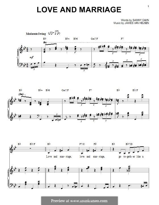 Love and Marriage (Frank Sinatra): para voz e piano ou guitarra (B Flat maior) by Jimmy Van Heusen