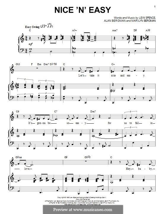 Nice 'n' Easy (Frank Sinatra): Para vocais e piano (ou Guitarra) by Alan Bergman, Lew Spence, Marilyn Bergman