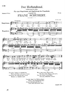 Der Herbstabend (Autumn Evening), D.405: F minor by Franz Schubert