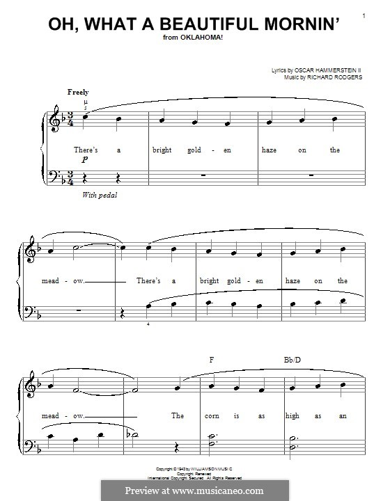 Oh, What a Beautiful Mornin' (from 'Oklahoma!'): Facil para o piano by Richard Rodgers