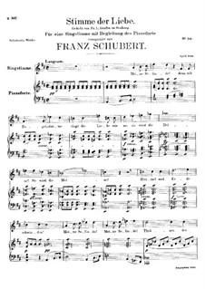 Stimme der Liebe (Voice of Love), D.412: Para vocais e piano by Franz Schubert