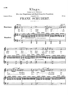 Klage (Lament), D.415: For voice and piano (a minor) by Franz Schubert