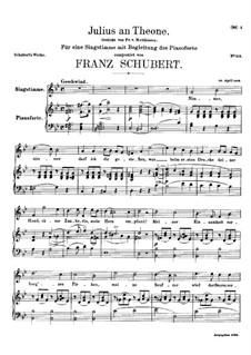 Julius an Theone (Julius to Theone), D.419: G minor by Franz Schubert