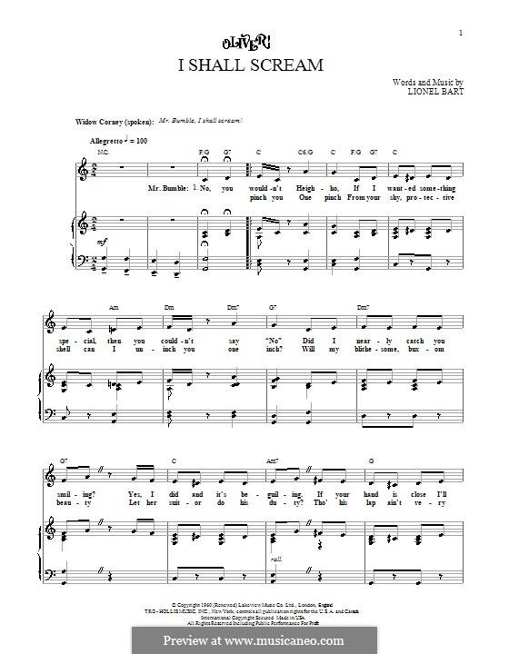 I Shall Scream: Para vocais e piano (ou Guitarra) by Lionel Bart