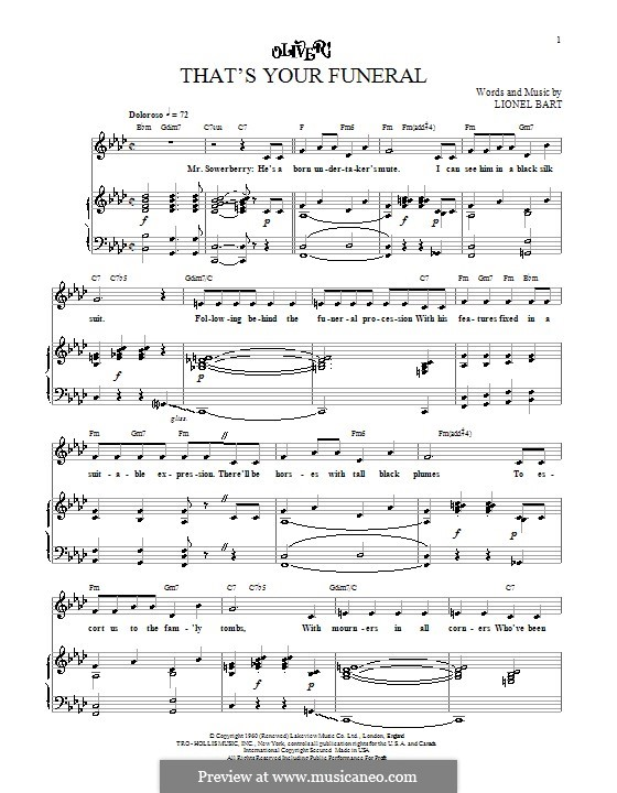 That's Your Funeral: Para vocais e piano (ou Guitarra) by Lionel Bart