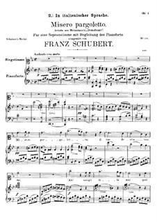 Misero pargoletto (Unhappy Child), D.42: G minor by Franz Schubert