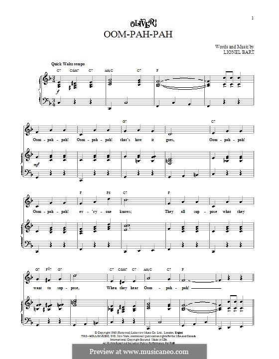 Oom-Pah-Pah (from Oliver!): Para vocais e piano (ou Guitarra) by Lionel Bart
