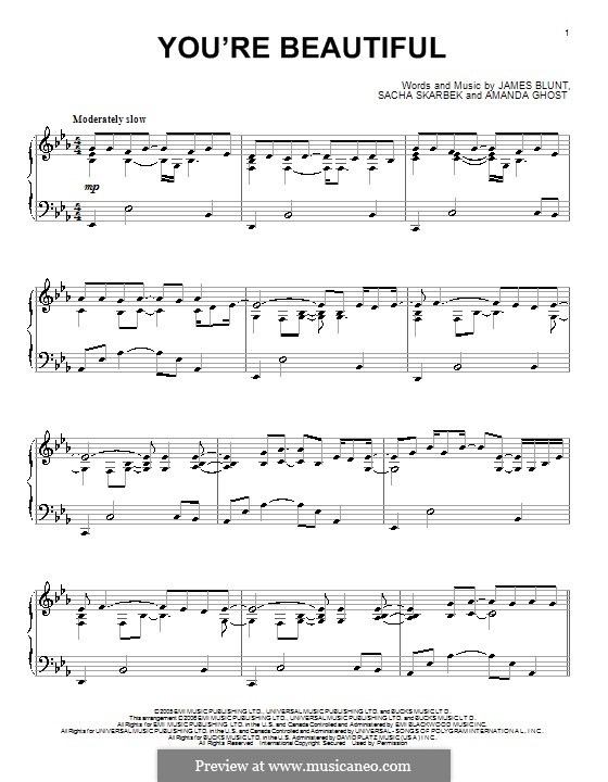 You're Beautiful: Para Piano by Amanda Ghost, James Blunt, Sacha Skarbek