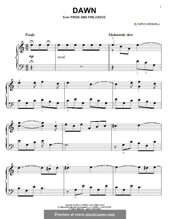 Dawn: Facil para o piano by Dario Marianelli