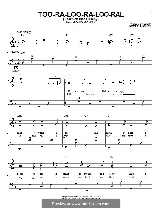 Too-Ra-Loo-Ra-Loo-Ral (That's an Irish Lullaby): para acordeão by James Royce Shannon