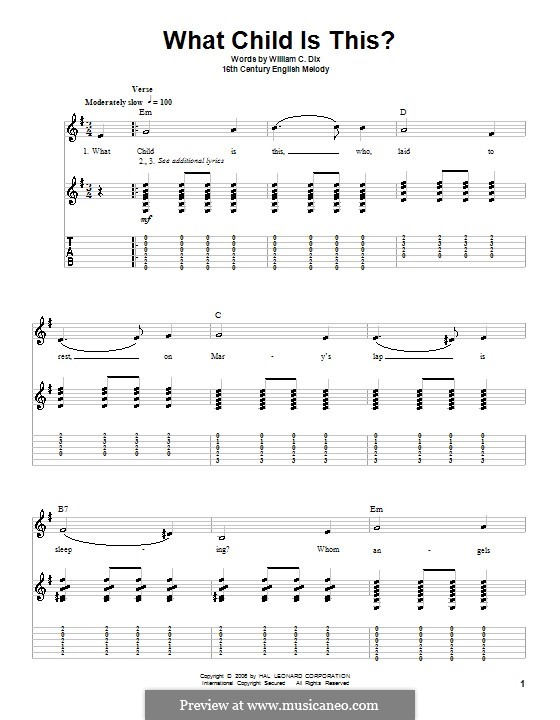 What Child is This (Christmas Carol): Para guitarra com guia by folklore
