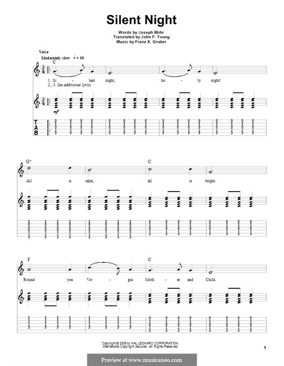 Silent Night (Printable): For guitar (C Major) by Franz Xaver Gruber